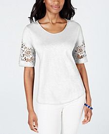 Petite Cotton Lace-Sleeve Top, Created for Macy's