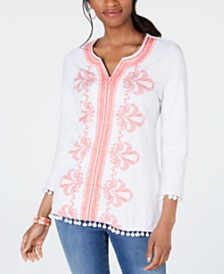 Charter Club Petite Cotton Embroidered Pom Pom Top, Created for Macy's