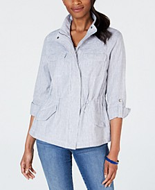 Petite Striped Safari Jacket, Created for Macy's