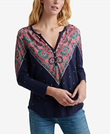 Lucky Brand Cotton Bandana-Print Henley Top