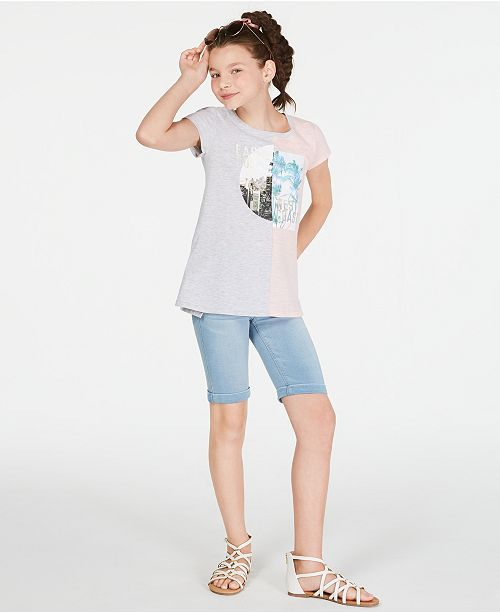 Epic Threads Big Girls Colorblocked T-Shirt & Denim Bermuda Shorts, Created for Macy's