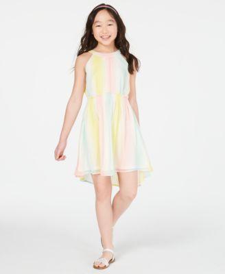 Big Girls Striped Chiffon Dress, Created for Macy's