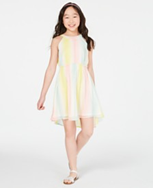 Epic Threads Big Girls Striped Chiffon Dress, Created for Macy's