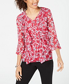 Printed Ruffle-Front Mesh Top, Created for Macy's