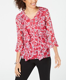 Alfani Petite Ruffled Mesh Top, Created for Macy's