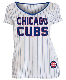 Women's Chicago Cubs Pinstripe V-Neck T-Shirt