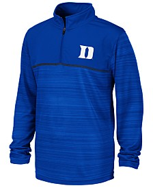 Colosseum Big Boys Duke Blue Devils Striped Mesh Quarter-Zip Pullover