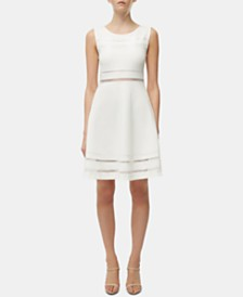 French Connection Lula Mesh-Trim Fit & Flare Dress