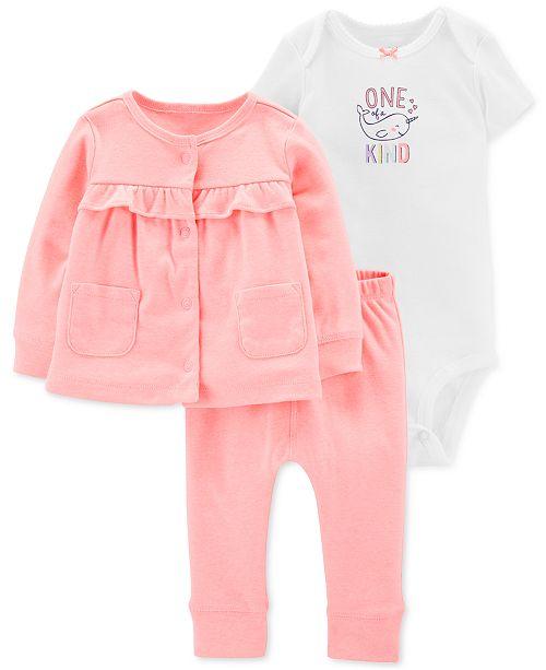 Carter's Baby Girls 3-Pc. Cardigan Sweater, Bodysuit & Pants Set