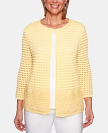 Alfred Dunner Petite Classic Layered-Look Pointelle Cardigan