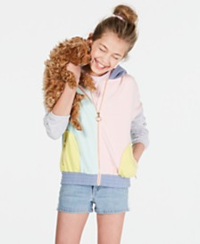 Epic Threads Big Girls Crisscross Cami, Colorblocked Hoodie & Denim Shorts, Created for Macy's