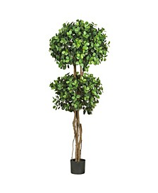 5.5' Eucalyptus Double Ball Topiary Faux Silk Tree