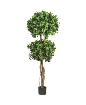 Nearly Natural 5.5' Eucalyptus Double Ball Topiary Faux Silk Tree