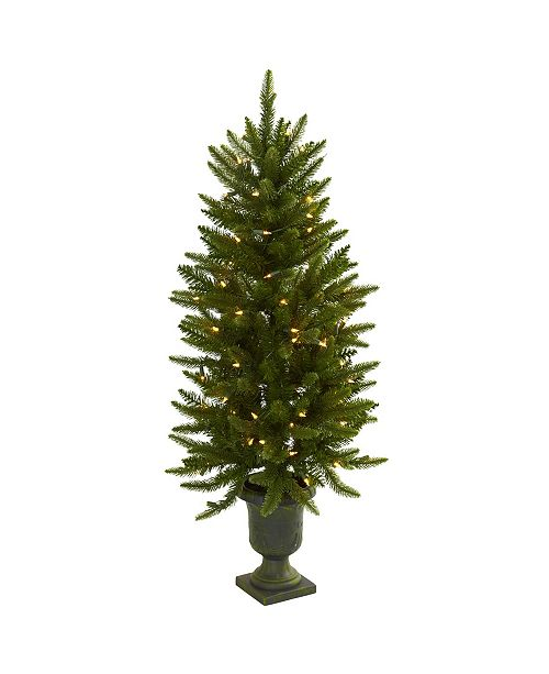 Nearly Natural 4' Christmas Tree with Urn and Clear Lights