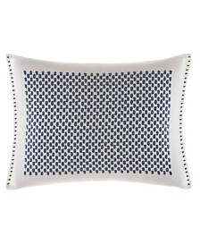 Vera Wang Shibori Grid White Bars Embroidered Breakfast Pillow