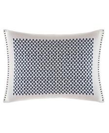 Vera Wang Shibori Grid White Bars Embroidered Breakfast Pillow