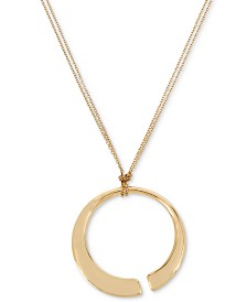 "Robert Lee Morris Soho Gold-Tone Open Circle Long Pendant Necklace, 34"" + 2"" extender"