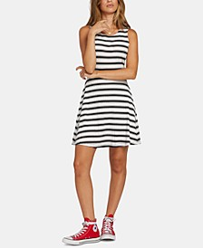 Juniors' Striped Open-Back Dress