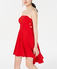 B Darlin Juniors' Strapless X-Side High-Low Dress