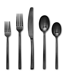Cambridge Beacon Black Satin 20-Piece Flatware Set