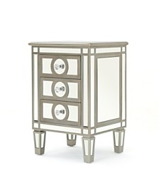 Maeve Mirrored 3 Drawer Cabinet End Table, Quick Ship