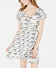 Roxy Juniors' Sun Dreamer Striped Faux-Wrap Dress