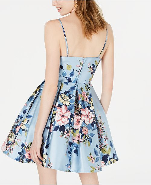 ddaf510f8db Teeze Me Juniors  Floral-Print Fit   Flare Dress   Reviews - Dresses ...