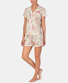 Lauren Ralph Lauren Woven Cotton Notch Collar Pajama Set