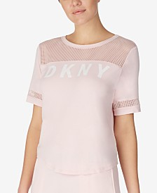 DKNY Short-Sleeve Logo and Mesh Detail Pajama Top