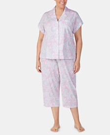 Lauren Ralph Lauren Plus-Size Printed Notch Collar Top and Capri Pajama Pants Set