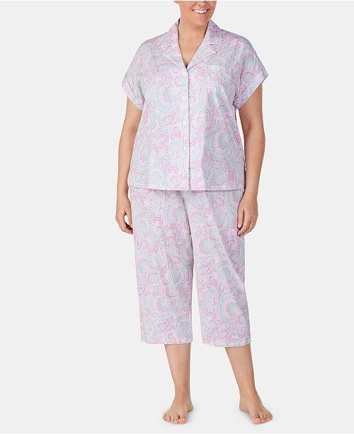 4d1083eb Plus-Size Printed Notch Collar Top and Capri Pajama Pants Set