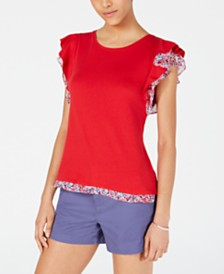 Maison Jules Printed Flutter-Sleeve Top, Created for Macy's