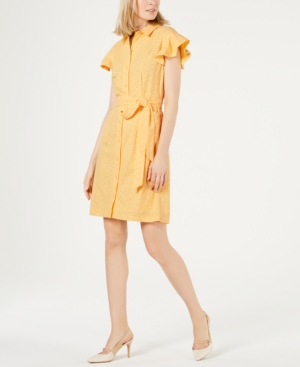 Calvin Klein Dresses EYELET FLUTTER-SLEEVE SHIRTDRESS