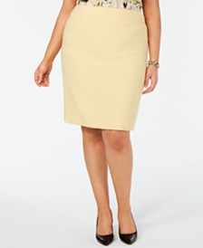 Kasper Plus Size Back-Vent Skirt