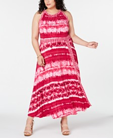 I.N.C. Plus Size Tie Dye Maxi Dress, Created for Macy's