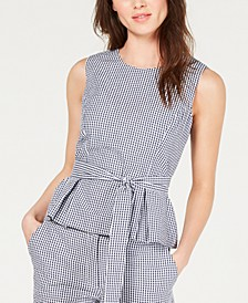 Belted Gingham Blouse