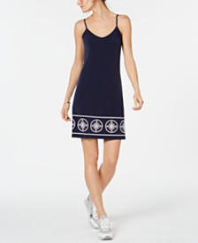 MICHAEL Michael Kors Studded Border-Print Slip Dress, Regular & Petite Sizes