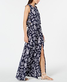 MICHAEL Michael Kors Printed Grommet-Laced Maxi Dress, Regular & Petite, Created for Macy's