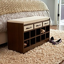 Entryway Storage Bench Seat with Shoe Cubbies