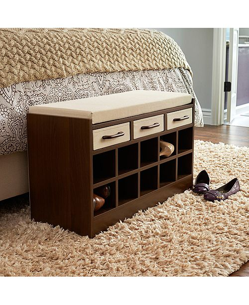 Household Essentials Entryway Storage Bench Seat With Shoe Cubbies Reviews Cleaning Organization Home Macy S,Diy Christmas Decorations For Your Room