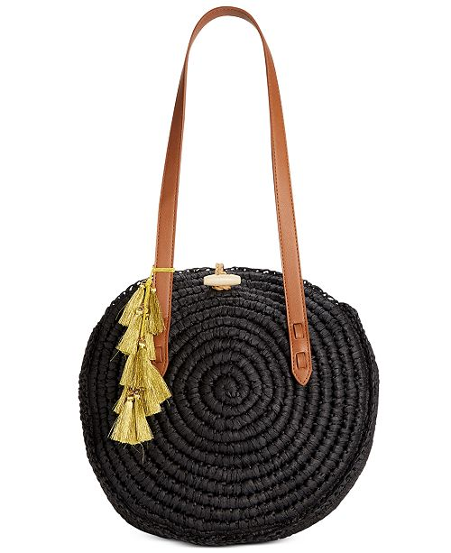 INC International Concepts I.N.C. Straw Circle Tote, Created for Macy's