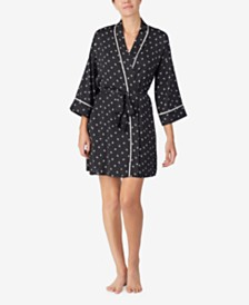 DKNY Satin Printed Wrap Robe