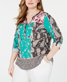 Style & Co Plus Size Printed Button-Neck Top, Created for Macy's