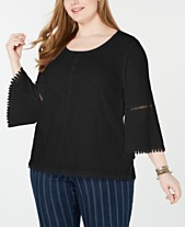 65e045fb40ca4e Style & Co Plus Size Crochet-Trim Bell-Sleeve Top, Created for Macy's