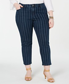 Style & Co Plus Size Striped Ankle Jeans, Created for Macy's