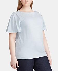 Lauren Ralph Lauren Plus Size Flutter-Sleeve Cotton Top