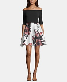 Petite Off-The-Shoulder Floral-Print Fit & Flare Dress