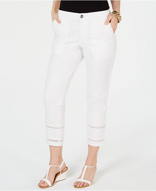 Style & Co Embroidered-Hem Capri Pants, Created for Macy's