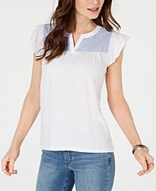 Contrast-Yoke Cotton Top, Created for Macy's