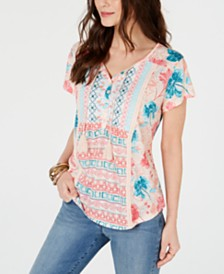 Style & Co Mixed-Print Crochet-Trim Peasant Top, Created for Macy's